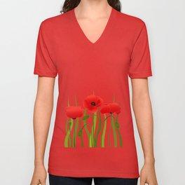 Poppies Unisex V-Neck