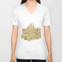 medieval V-neck T-shirts featuring medieval houses  by Elena Trupak