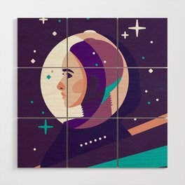 Space Girl Wood Wall Art