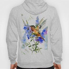 Alen's Hummingbird and Blue Flowers, floral bird design birds, watercolor floral bird art Hoody