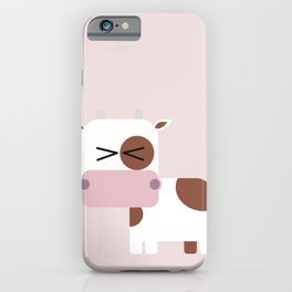 Little pink cow illustration iPhone Case