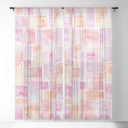 Watercolour Mosaic Pattern   Peach Sheer Curtain