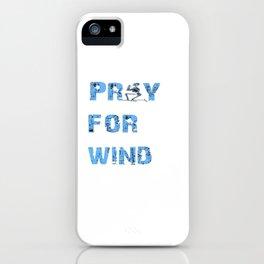 Kiteboarding Humor Kneeling Skeleton Praying For Wind iPhone Case