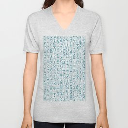 Hieroglyphics Moonstone BLUE / Ancient Egyptian hieroglyphics pattern Unisex V-Neck