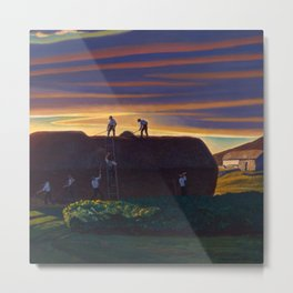 Dan Wards Hay Stack, Heartland Sunset landscape painting by Rockwell Kent Metal Print