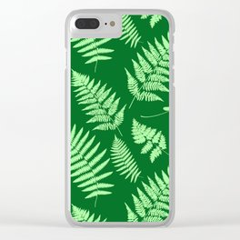 Woodland Fern Pattern, Light Green and  Emerald Clear iPhone Case