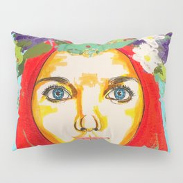 Red haired girl with flowers in her hair Pillow Sham