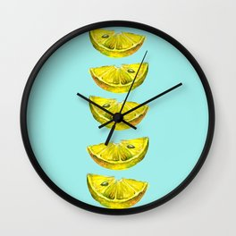 Lemon Slices Turquoise Wall Clock