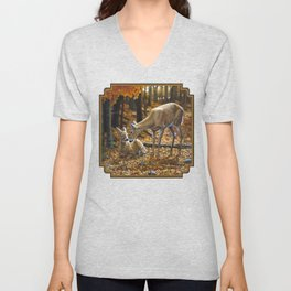 Whitetail Deer and Fawn in Autumn Unisex V-Neck