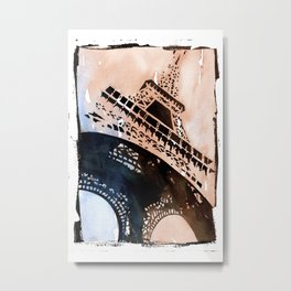Watercolor painting of the iron lattice of the Eiffel Tower in Paris, France Metal Print
