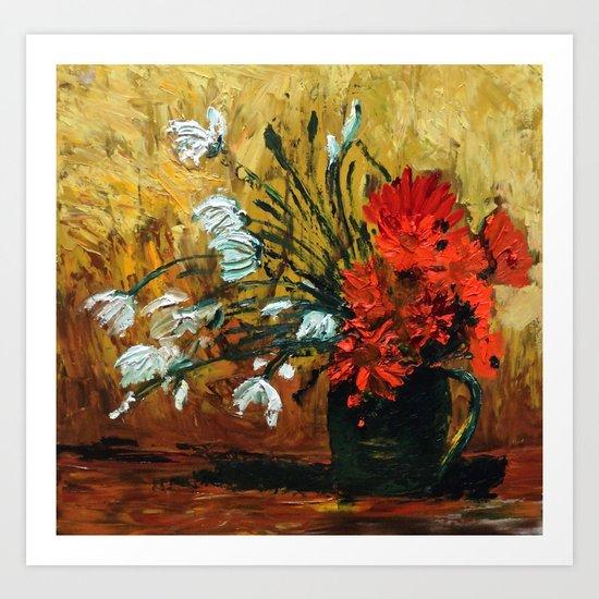 Red Flowers In Green Vase Art Print