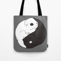 yin yang Tote Bags featuring Yin & Yang by Lili Batista