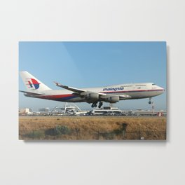 Malaysia Airlines 747-400 Landing at LAX Metal Print