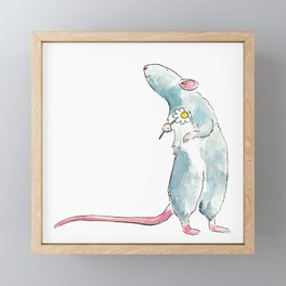 Woodland mouse with a flower Framed Mini Art Print