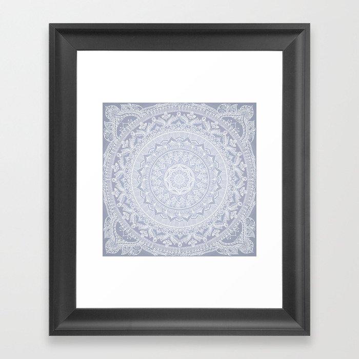 Mandala Soft Gray Gerahmter Kunstdruck