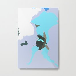 ASTA - Blue Modern Abstract Graphic Art Scandinavian Metal Print