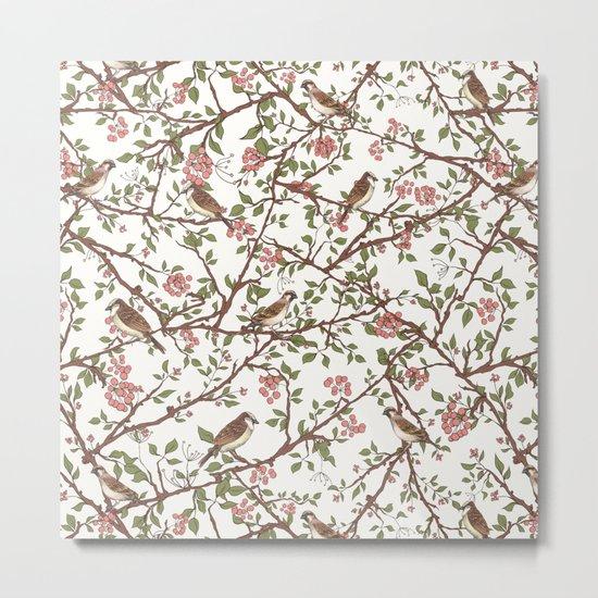 Sparrow Tree - Seamless Pattern Metal Print