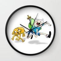 finn and jake Wall Clocks featuring Finn & Jake by Dan Bingham