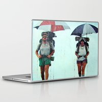 hiking Laptop & iPad Skins featuring Rain Hiking by Fallon Chase