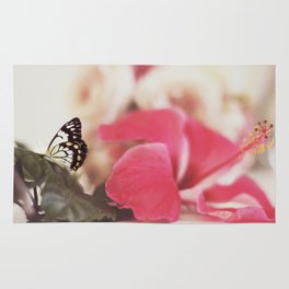 Black Butterfly Pink Flower Rug