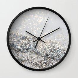 Silver Gray Glitter #2 #shiny #decor #art #society6 Wall Clock