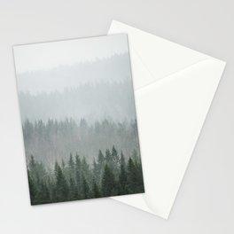 Parallax Monochromatic Misty Pine Forest Landscape Photo Stationery Cards