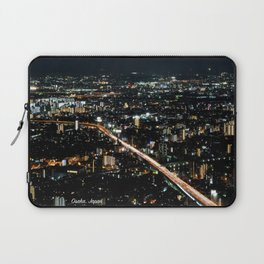 City View 'Night in Osaka, Japan' with Text Laptop Sleeve