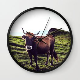 Cow in the Alps, Mountains Wall Clock