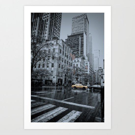 rainy 5th Ave Art Print