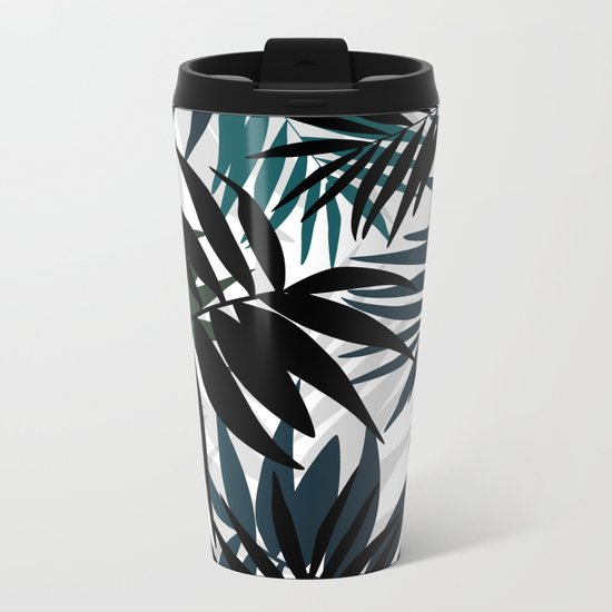 Shadow palm tree leaves Metal Travel Mug