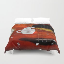 cup of coffee on acousic guitar - color Duvet Cover