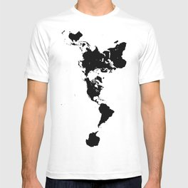 Dymaxion World Map (Fuller Projection Map) - Minimalist Black on White T-shirt
