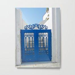 Santorini Blue Gate Metal Print