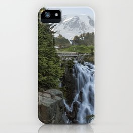 Mount Rainier and Myrtle Falls, Late Afternoon iPhone Case