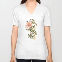 vintage floral V-neck T-shirts featuring Vintage floral watercolor background by Anna Yudina