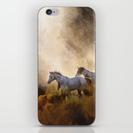 Horses in a Golden Meadow by Georgia M Baker iPhone Skin