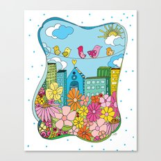 Birds In The City Canvas Print