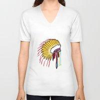 headdress V-neck T-shirts featuring Headdress by Relic X