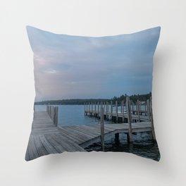 Weirs Beach Docks Throw Pillow