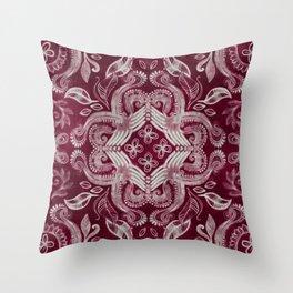 Dark cherry red dirty denim textured boho pattern Throw Pillow