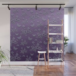 Flowers & butterflies in purple Wall Mural
