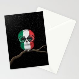 Baby Owl with Glasses and Italian Flag Stationery Cards