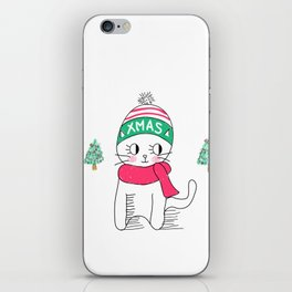 Adorable Little Cat in Christmas Time. iPhone Skin