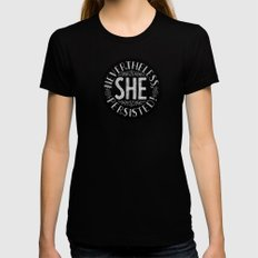Nevertheless, She persisted. Black LARGE Womens Fitted Tee