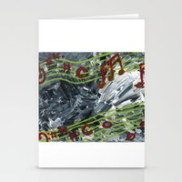 music notes Stationery Cards featuring Music Notes by Paxelart