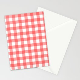 Red gingham fabric cloth, seamless pattern Stationery Cards
