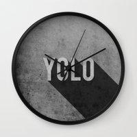 yolo Wall Clocks featuring YOLO by Barbo's Art