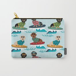 dachshund surfing dog breed pattern pet gifts Carry-All Pouch