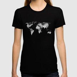 World Map - Hammered Metallic Monochrome T-shirt