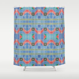 Fredericksburg Texas Vintage Ceramic Tile Pattern - Blue & Red Shower Curtain